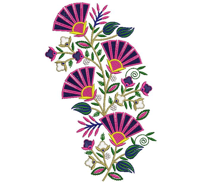 Creative  Beautiful awesome Flower Butta embroidery design