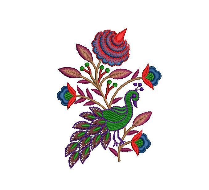 Peacock&flowers  figure concept butta embroidery design