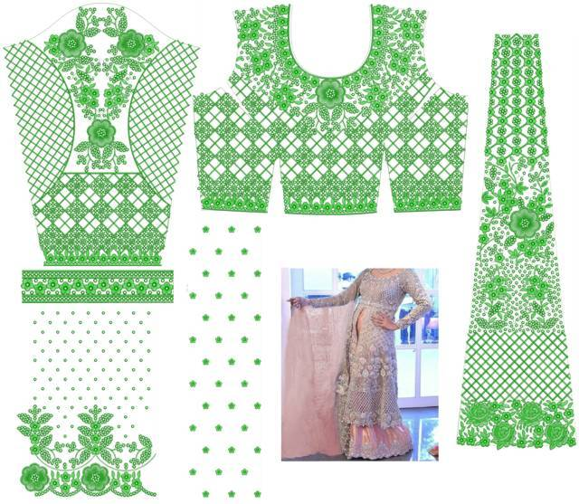 fancy Anarkali / Readymade  suit embroidery design