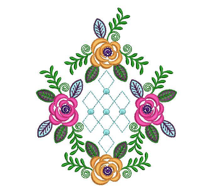 Creative round shape  Flower Butta embroidery design