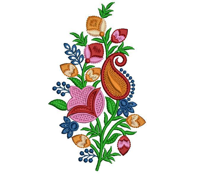 Colourful  Creative Mango flowers concept home decor embroidery design