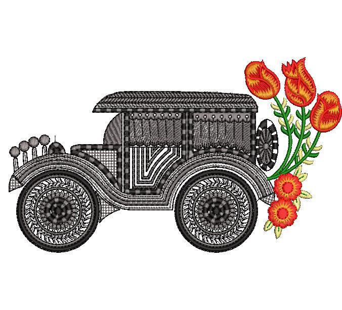 Vehicle beautiful flowers home decor furnishing embroidery design