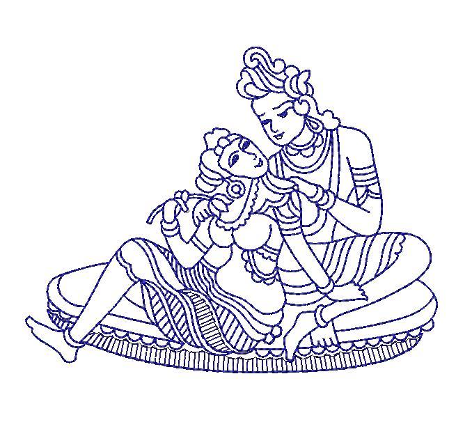 Radha-Krishna figure concept creative art Embroidery Design