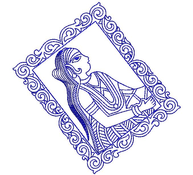 beautiful female figure concept creative art embroidery design