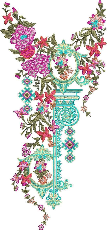 pakistani singal head  panal top/duptta embroiery designes