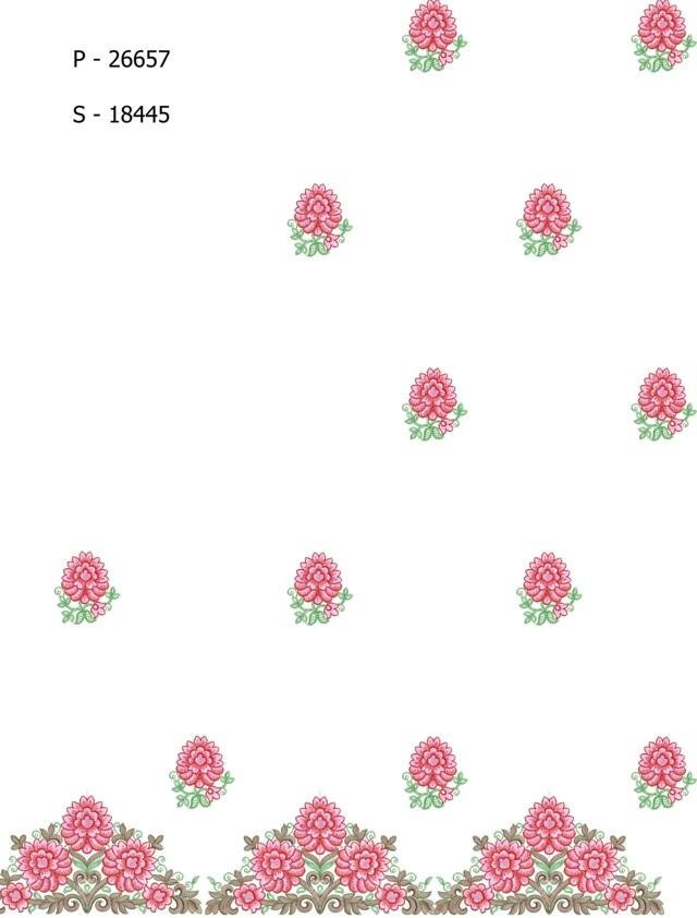 Pallu skt classic flower Saree Embroidery Design