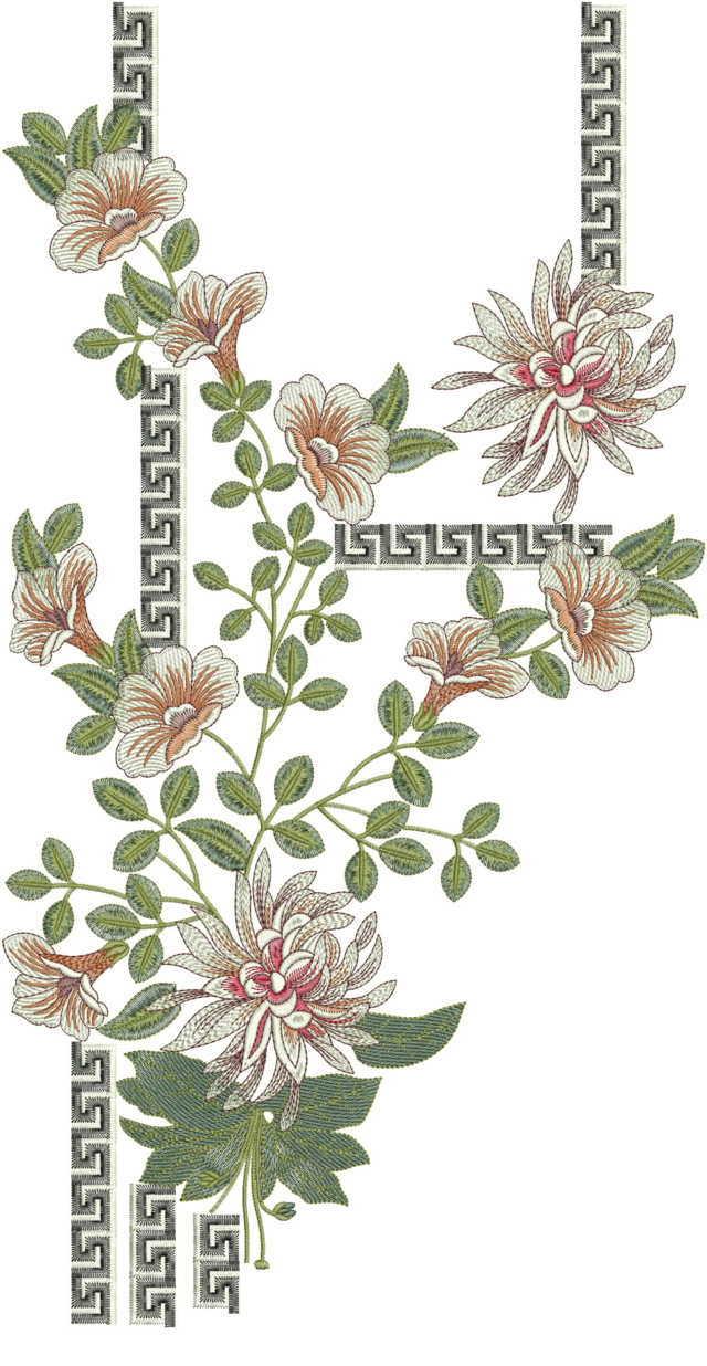Degital/replica neck /duptta embroidery design