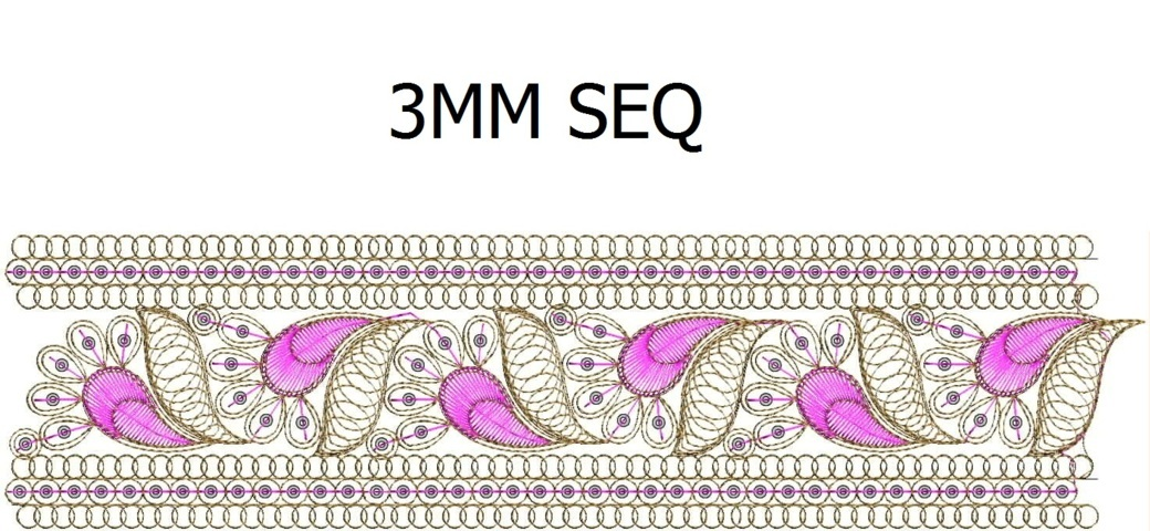 3 mm sequins Lace / Border Embroidery Design