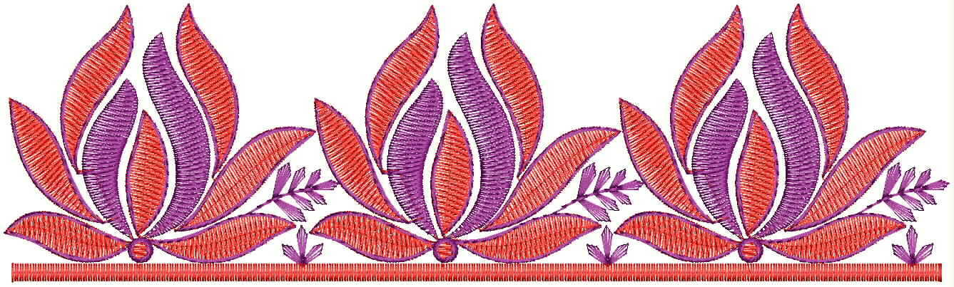 Beautiful lotus concept lace/border embroidery designs