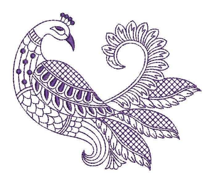 Beautiful peacock figure concept creative art & home decor embroidery designs
