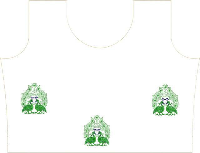 Peacock figure concept kurti embroidery design