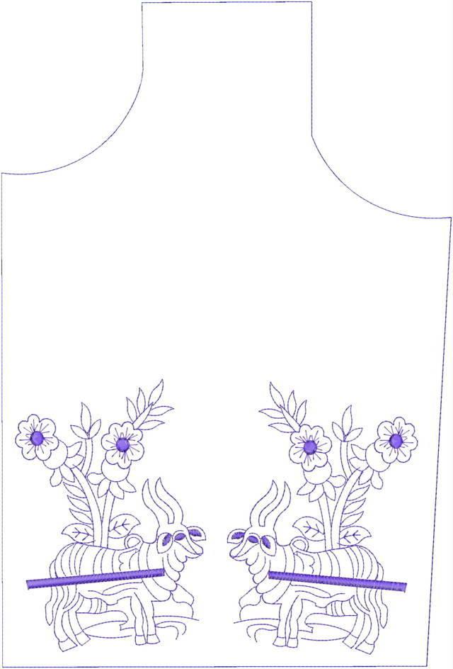 Ox cart figure concept kurti embroidery design