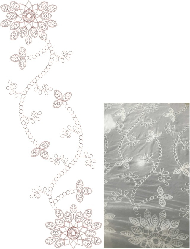 Beautiful flower concept All over garment Embroidery Design