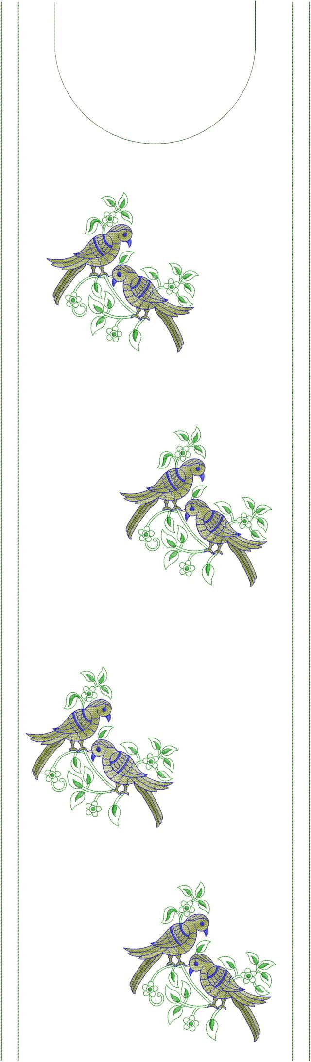 Sparrow figure  concept kurti embroidery design