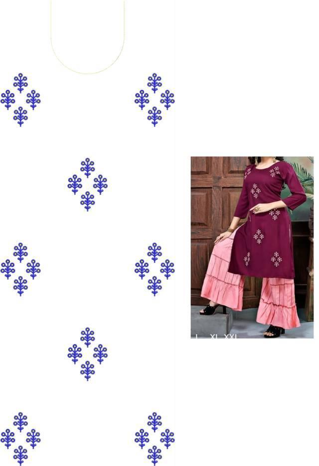 Fancy Kurti & Sarara rmbroidery design