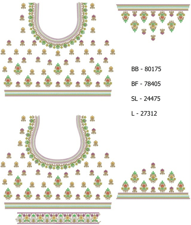 3 mm sequins Blouse / Choli Embroidery Design
