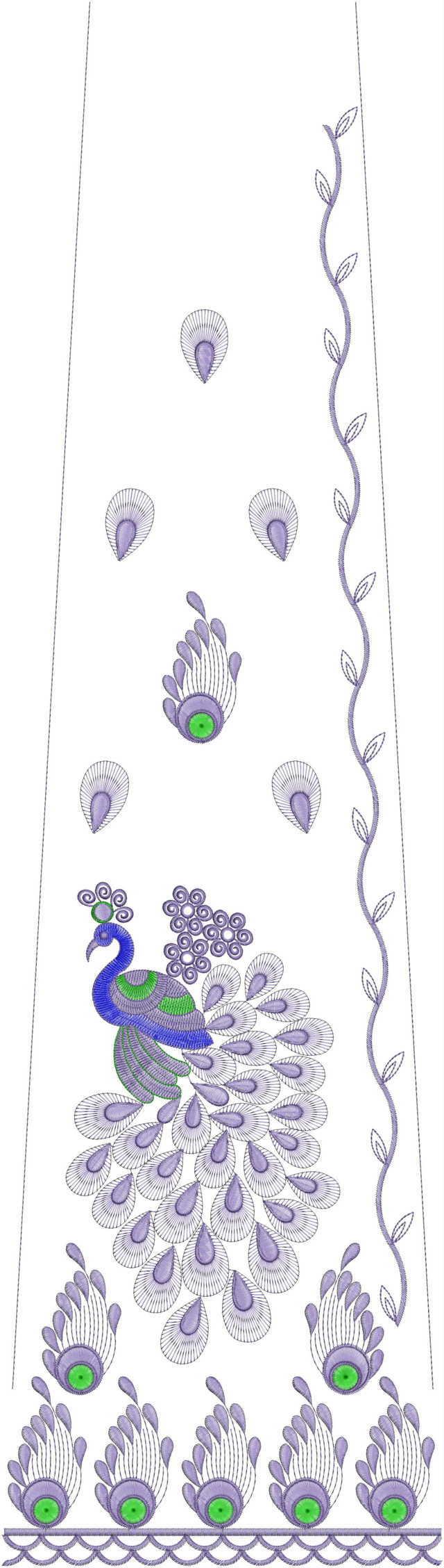 Peacock figure concept rajasthani Lehengha / kali Embroidery Design