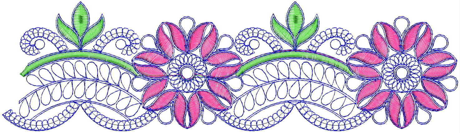 Beautiful flower cutwork Lace / Border Embroidery Design