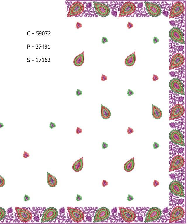 Creative leaf concept border low renj c pallu skt saree embroidery deisgns