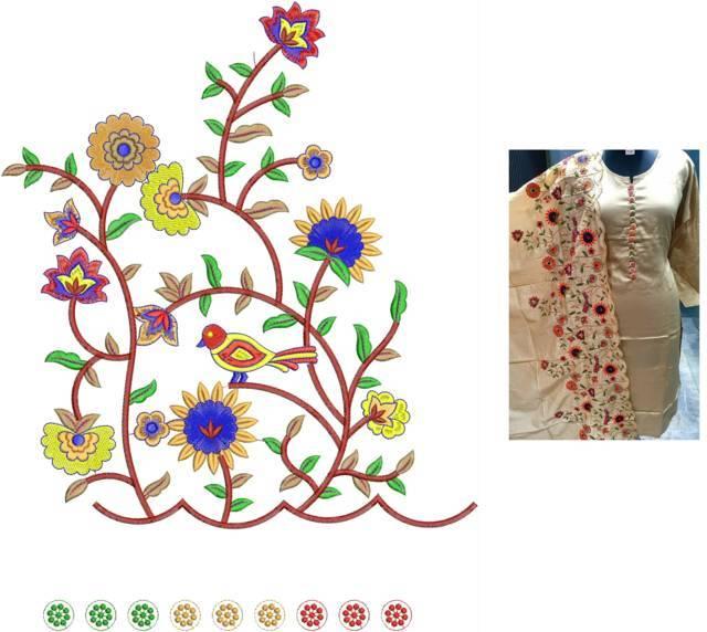Sparrow figure flowers plazzo concept kurti embroidery design