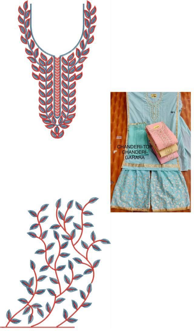 Fancy leaf concept  Kurti & plazzo Embroidery Design