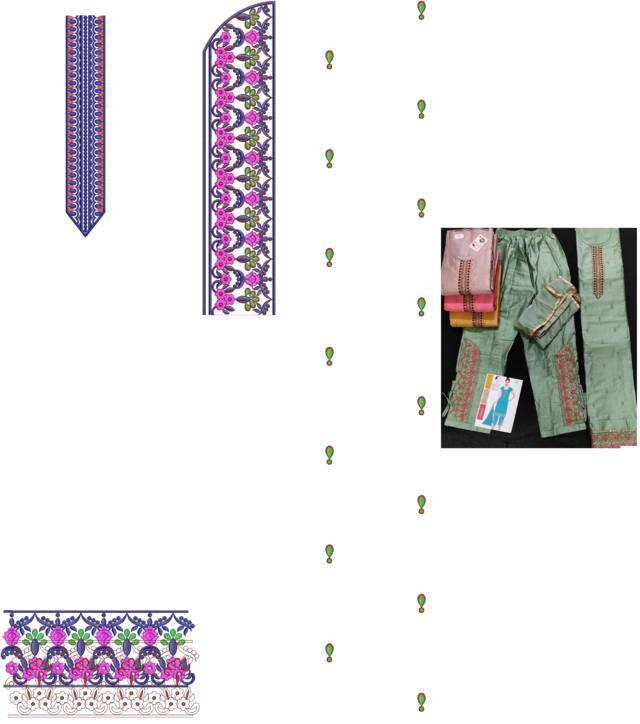 Fancy Kurti &pants embroidery design