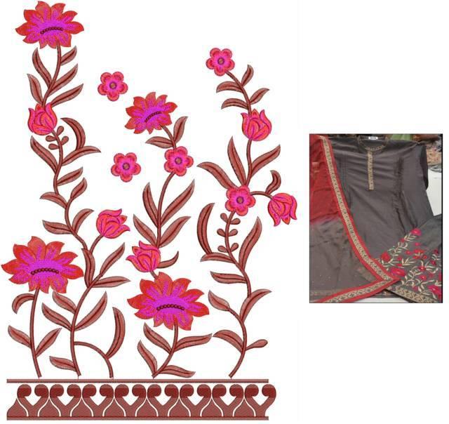 Fancy Kurti &plazzo rmbroidery design
