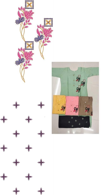 creative art flowers kurti embroidery design