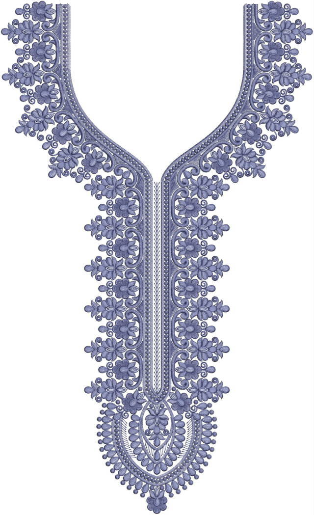 Fancy neck/gala embroidery design