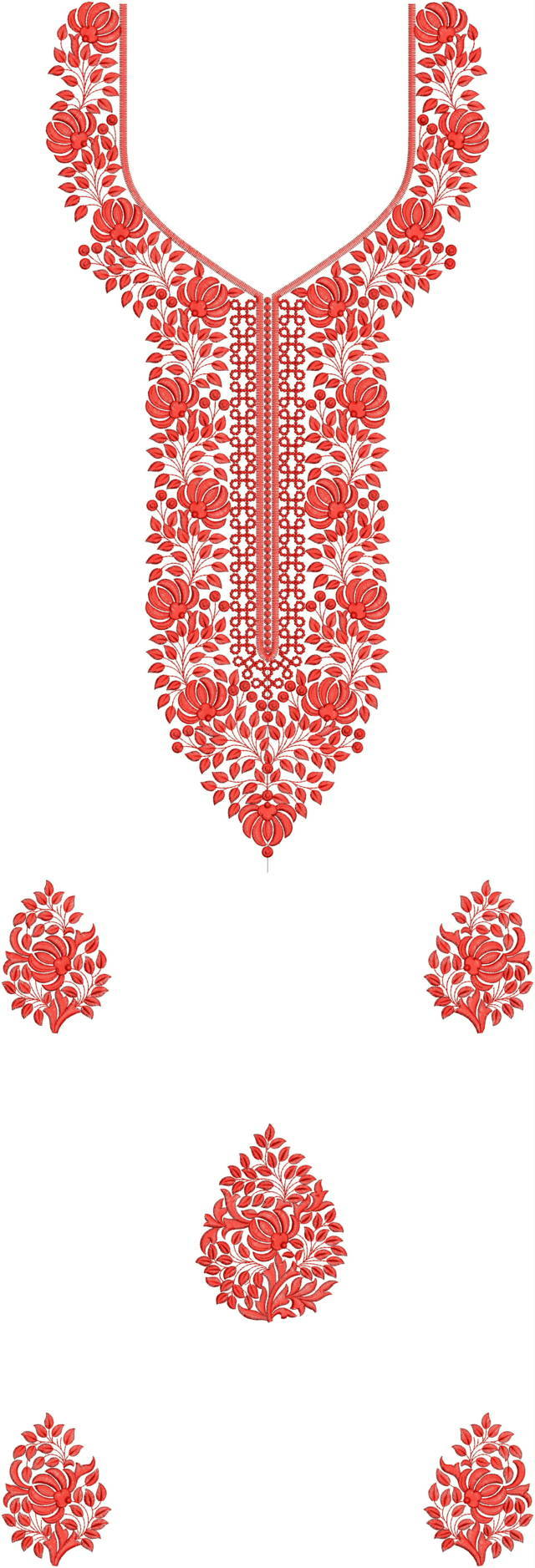Neck Butti Lace Single Head top & Duptta Embroidery Design