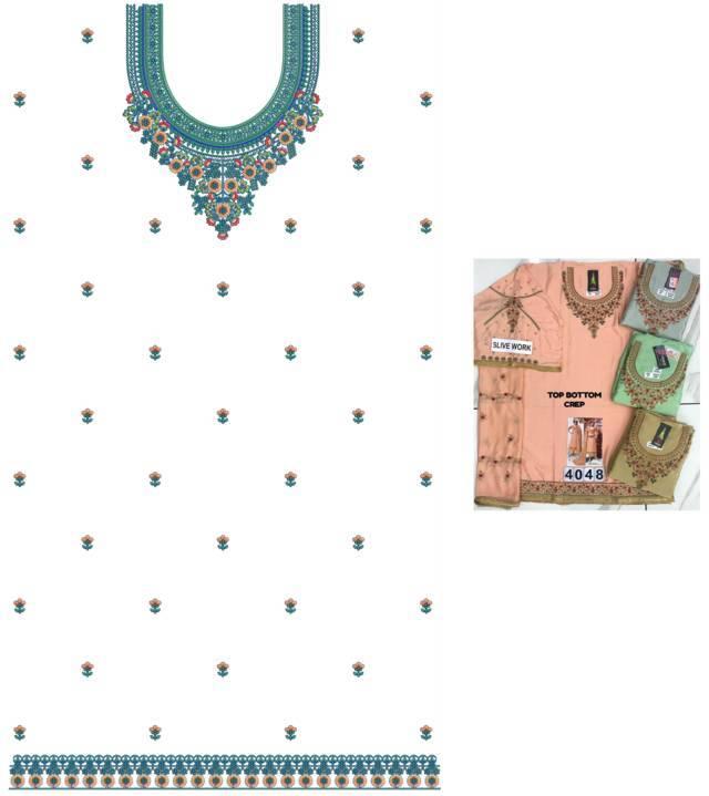 fancy Neck Butti Lace Single Head top & Duptta Embroidery Design