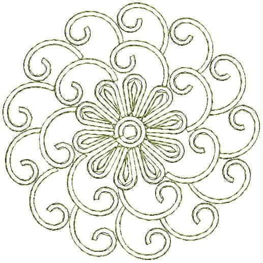 Oval concept Butta Embroidery Design
