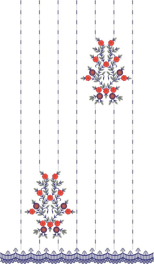Fancy flowers concept panjabi pakistani suits /duptta embroidery Design