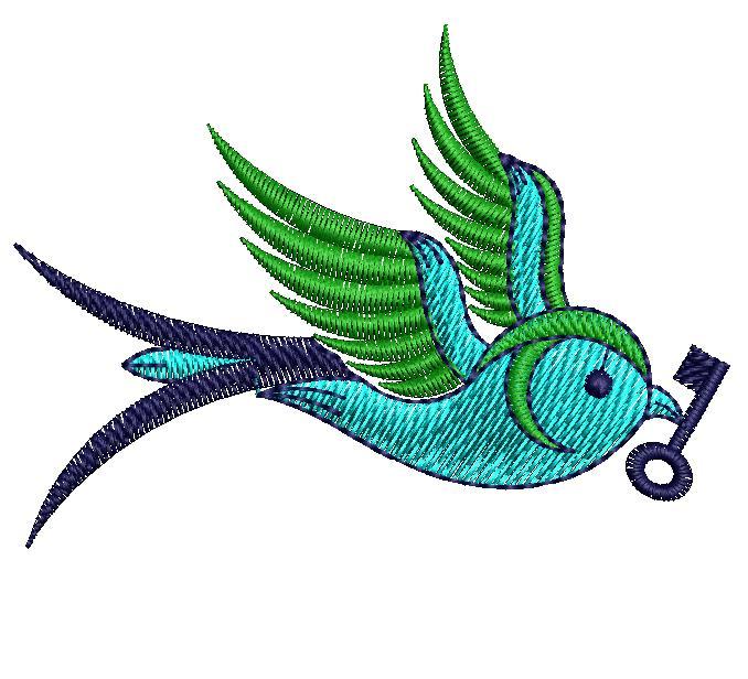Sparrow figure concept butta Embroidery Design