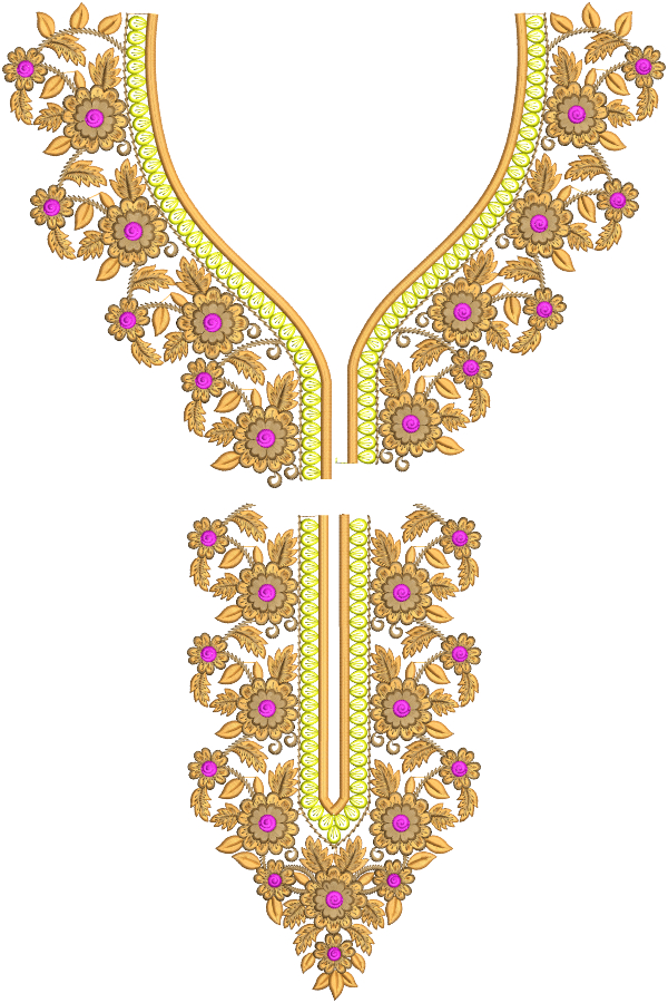 Split Neck Embroidery Designs for 6x10 Hoop Size