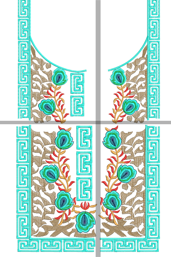 Split Neck Embroidery Designs for 6x10 Hoops