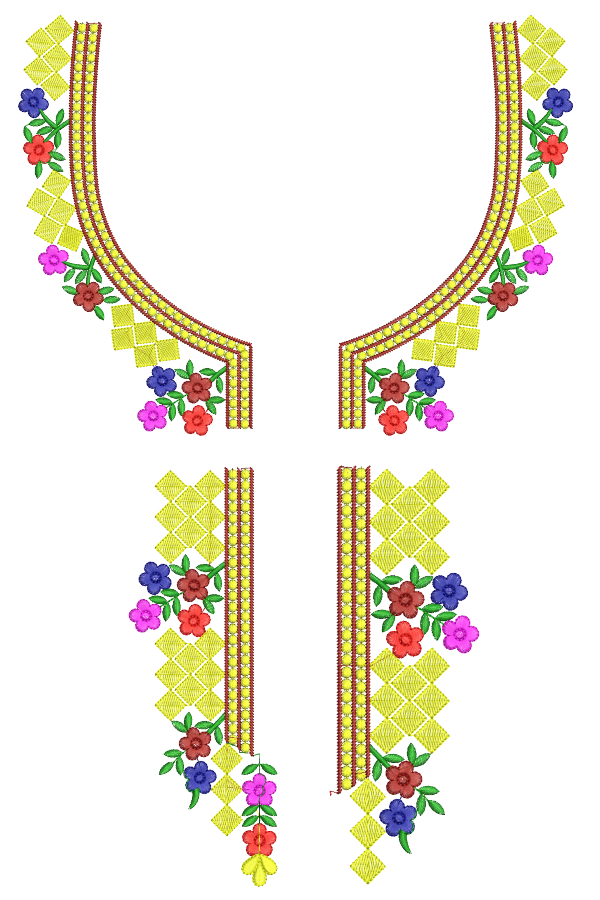Split Neck Embroidery Designs for 6x10 Hoops Size