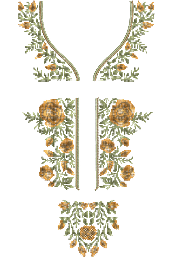 Split Cross Stitch Neck Embroidery Designs for 6x10 Hoop Size