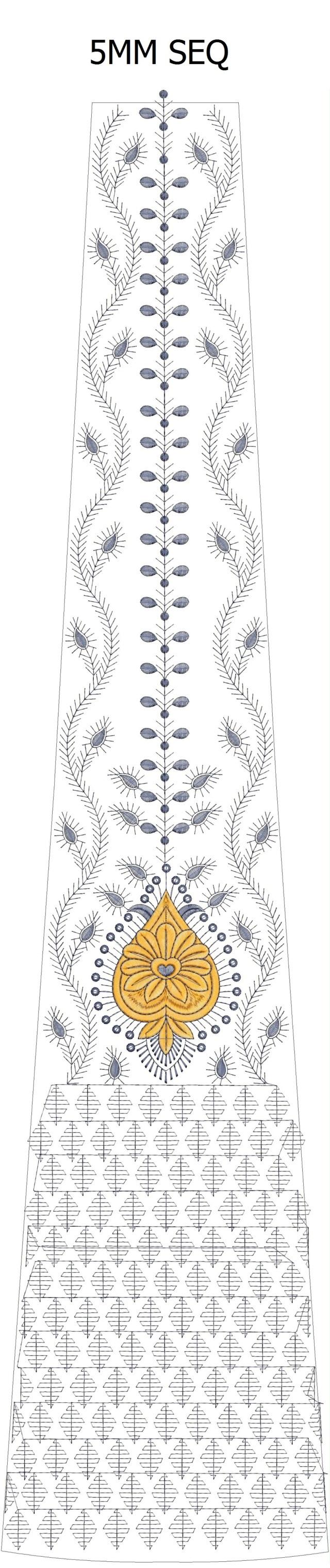 5 mm sequins lehenga/kali Embroidery Design