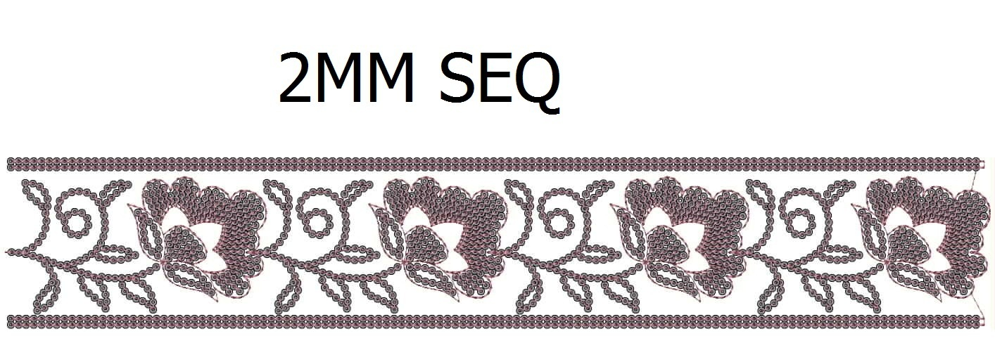 2mm sequins fancy lace/border Embroidery Design