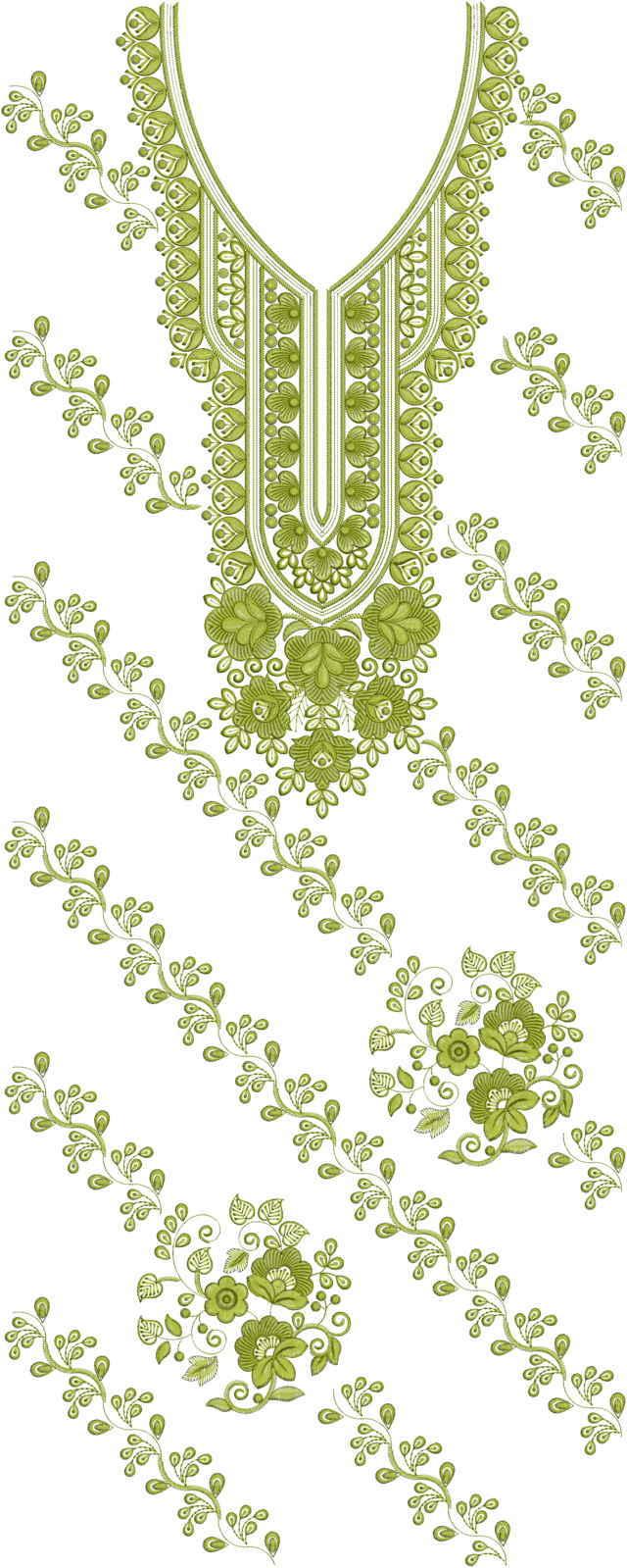 panjabi Single head Top & Duppata Embroidery Design