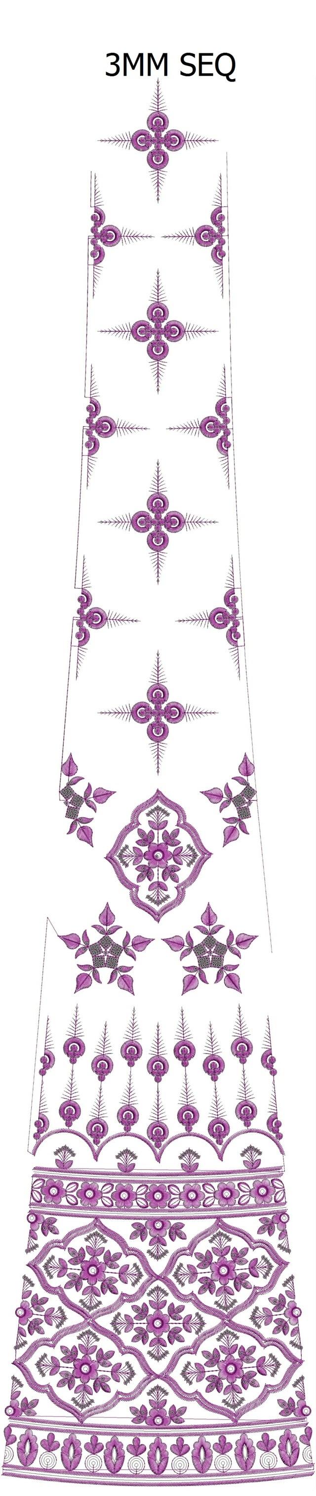 3 mm sequins lehenga/kali Embroidery Design