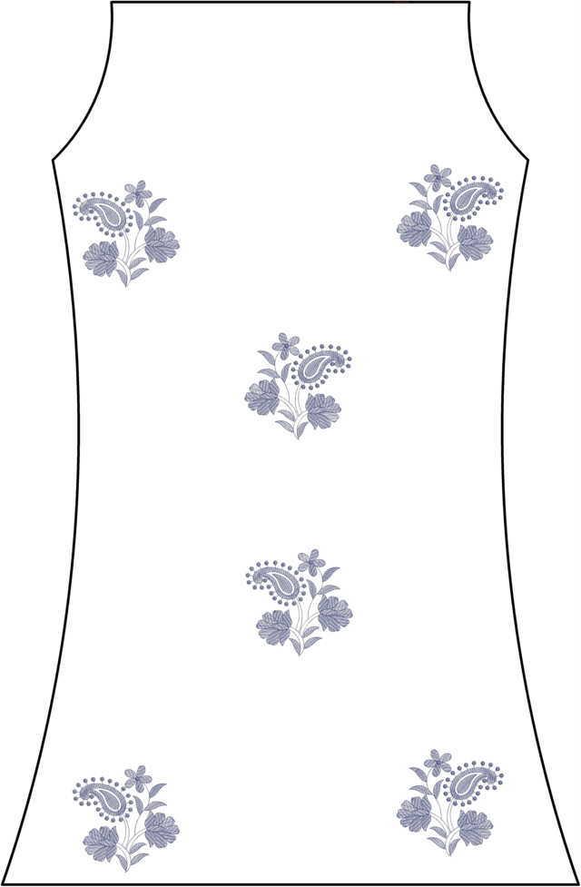 mango small flowers kurti embroidery design