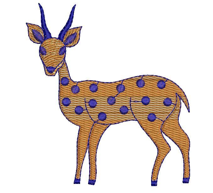 Deer Figure concept butta Embroidery Design