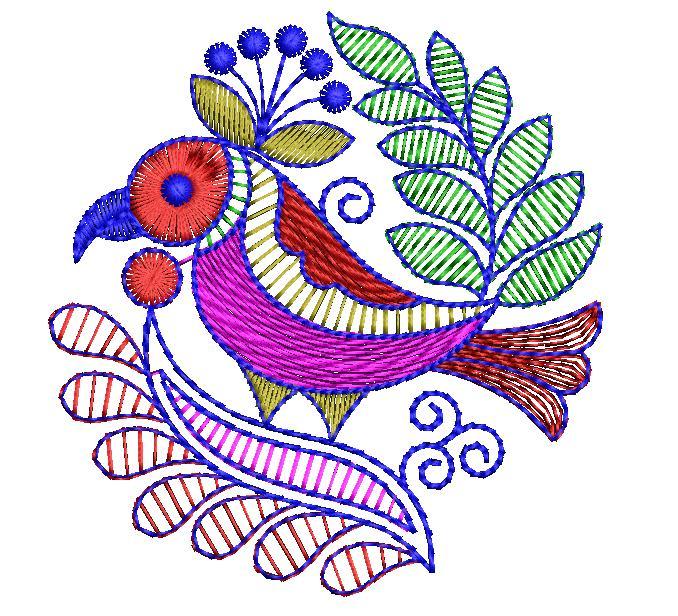 Parrot Figure concept butta Embroidery Design