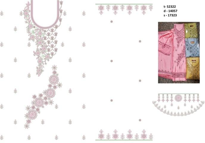 Neck butti lace  Single head Top & Duppata Embroidery Design