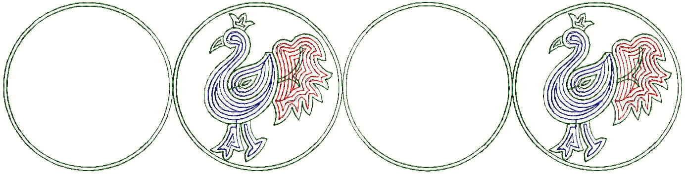 Peacock figure concept Lace/border Embroidery Design