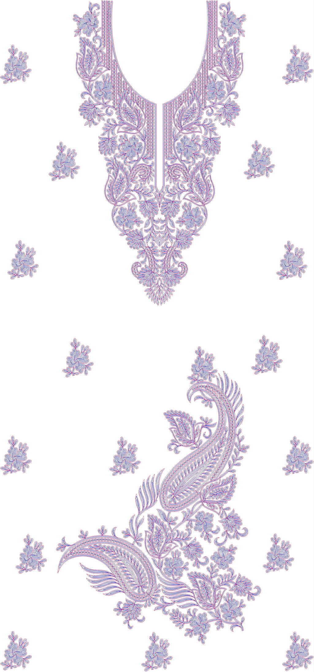 Single head Top & Duppata Embroidery Design