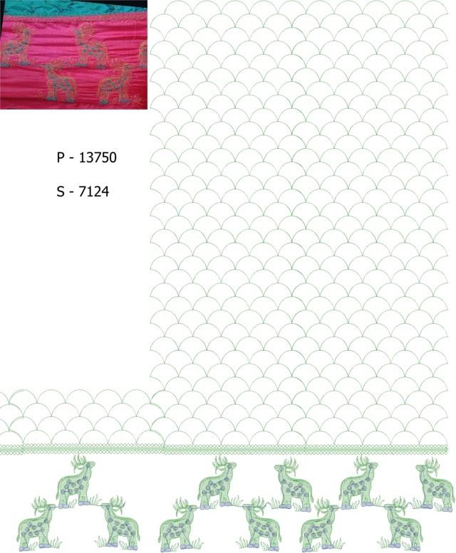 Deer Figure concept jaal pallu skt saree Embroidery Design