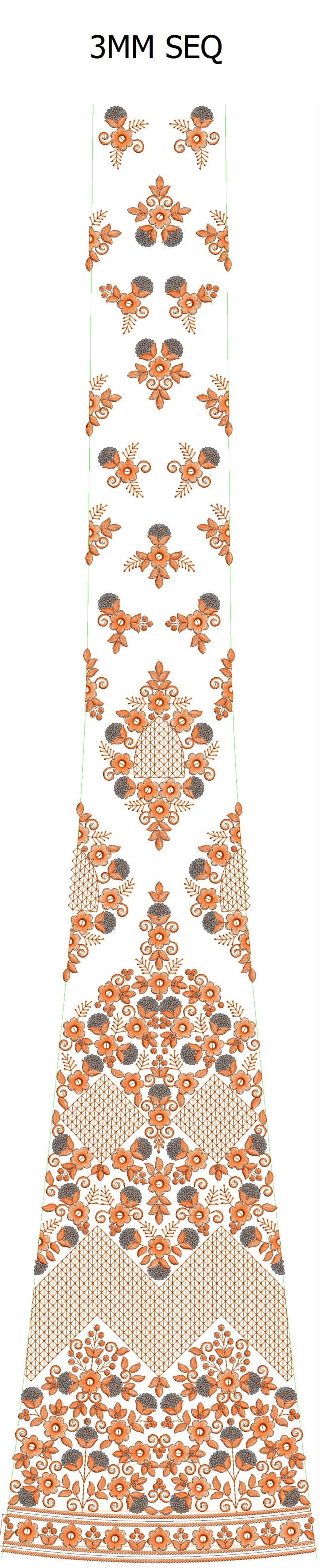 3mm sequins Lehengha / kali Embroidery Design